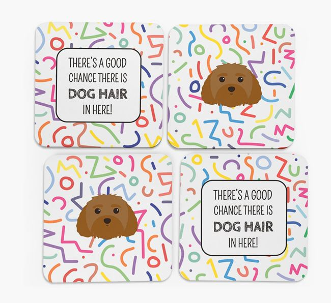 'Chance of Dog Hair' Coasters with Malti-Poo icon