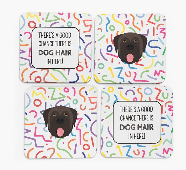 'Chance of Dog Hair' Coasters with Mastiff icon