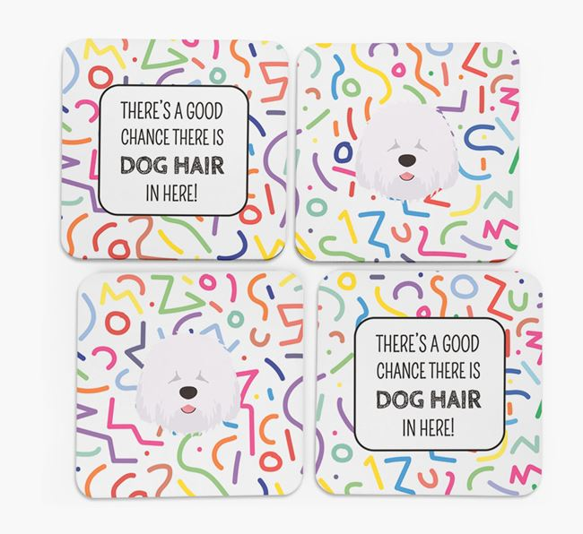 'Chance of Dog Hair' Coasters with Old English Sheepdog icon