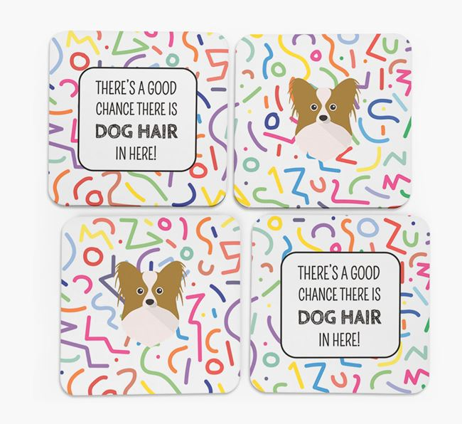 'Chance of Dog Hair' Coasters with Papillon icon