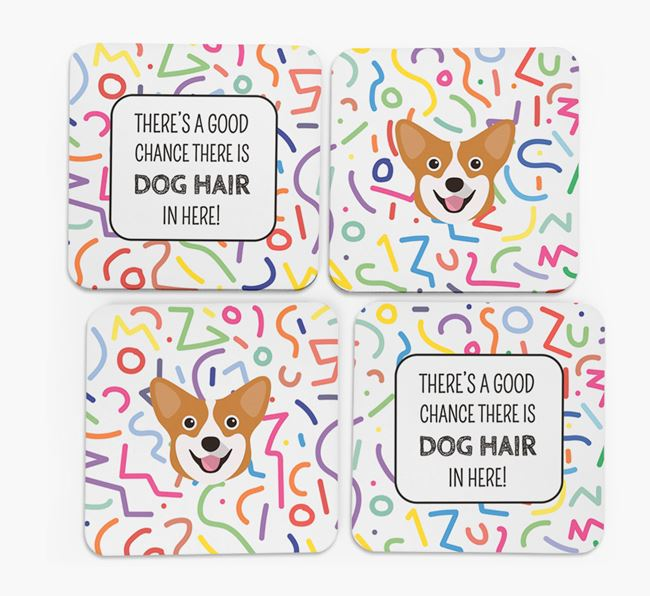 'Chance of Dog Hair' Coasters with Pembroke Welsh Corgi icon