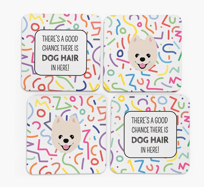 'Chance of Dog Hair' Coasters with Pomeranian icon