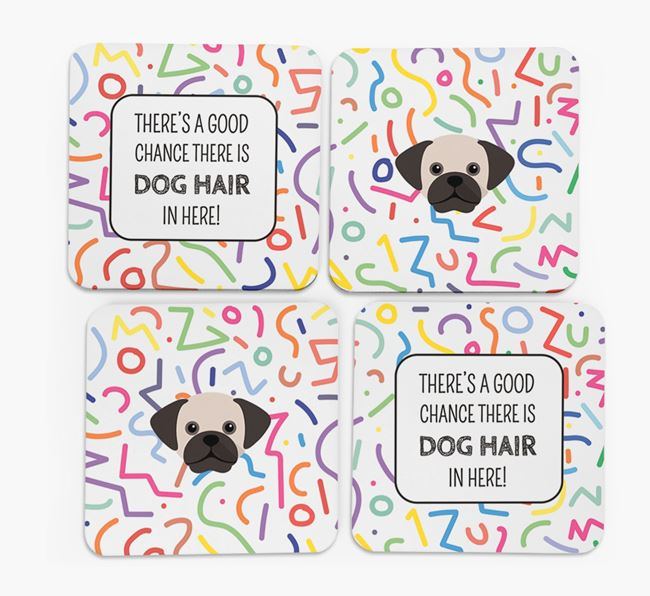 'Chance of Dog Hair' Coasters with Puggle icon