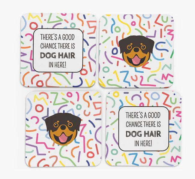 'Chance of Dog Hair' Coasters with Rottweiler icon