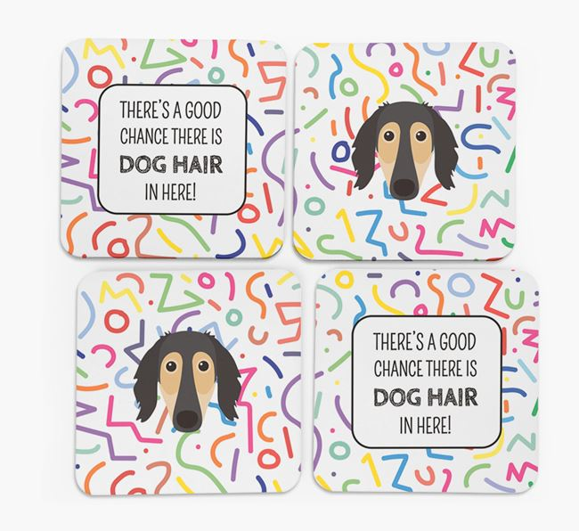 'Chance of Dog Hair' Coasters with Saluki icon