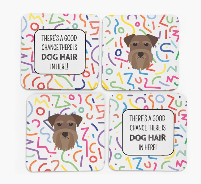 'Chance of Dog Hair' Coasters with Schnauzer icon