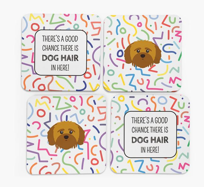 'Chance of Dog Hair' Coasters with Shih-poo icon