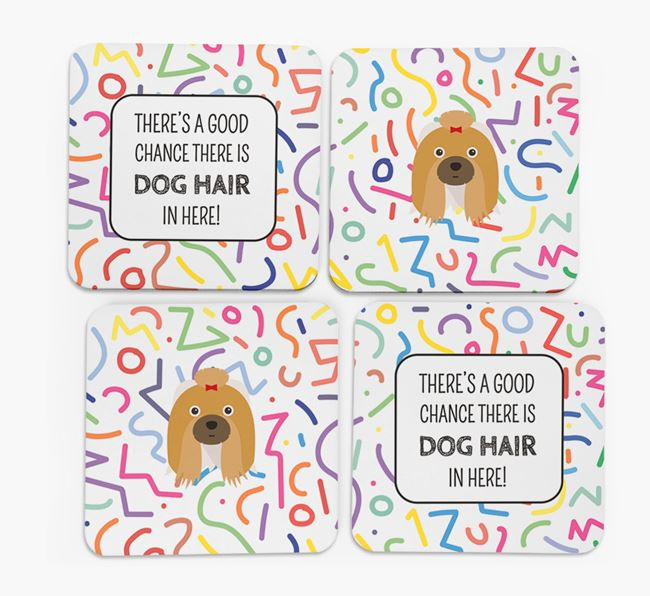'Chance of Dog Hair' Coasters with Shih Tzu icon