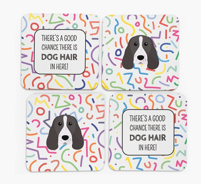 'Chance of Dog Hair' Coasters with Springer Spaniel icon