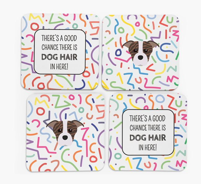 'Chance of Dog Hair' Coasters with Staffordshire Bull Terrier icon