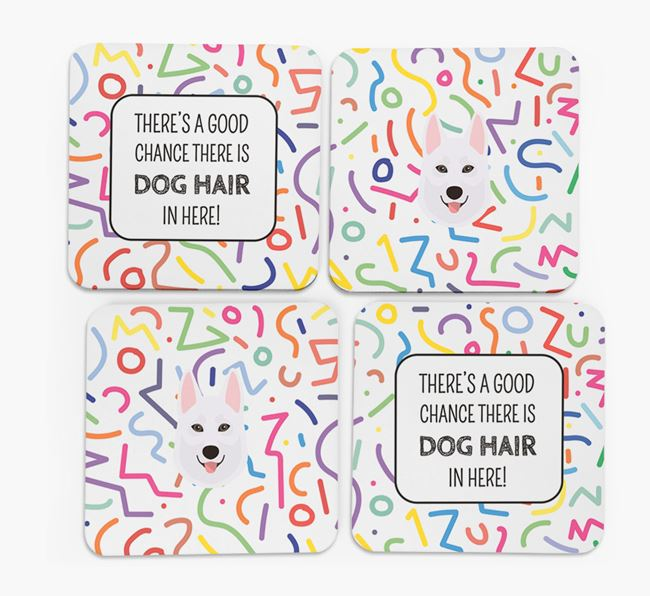 'Chance of Dog Hair' Coasters with Tamaskan icon