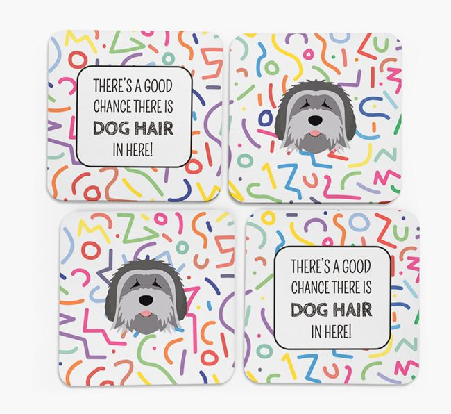 'Chance of Dog Hair' Coasters with Tibetan Terrier icon
