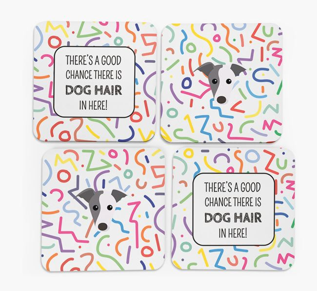 'Chance of Dog Hair' Coasters with Whippet icon