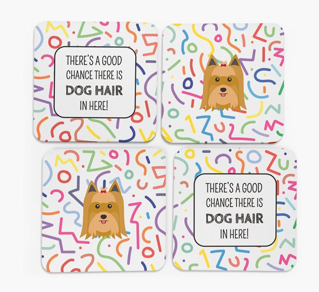 'Chance of Dog Hair' Coasters with Yorkshire Terrier icon