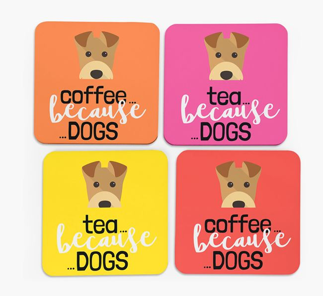 'Coffee/Tea Because...Dogs' Coasters with Airedale Terrier icon - Set of 4