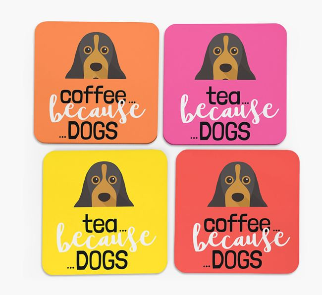'Coffee/Tea Because...Dogs' Coasters with American Cocker Spaniel icon - Set of 4