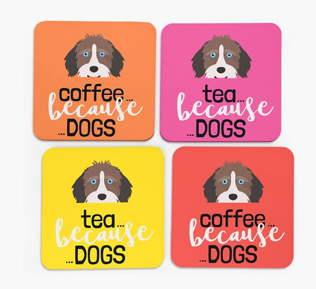 'Coffee/Tea Because...Dogs' Coasters with Aussiedoodle icon - Set of 4