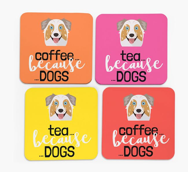 'Coffee/Tea Because...Dogs' Coasters with Australian Shepherd icon - Set of 4