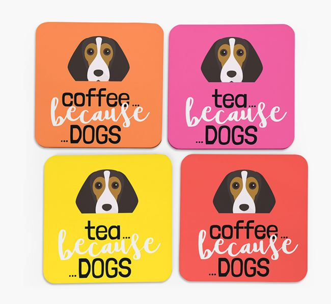 'Coffee/Tea Because...Dogs' Coasters with Beagle icon - Set of 4