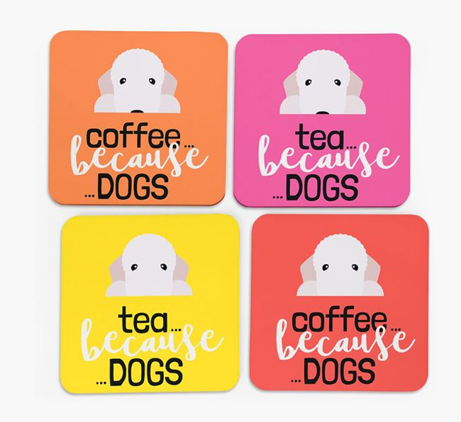 'Coffee/Tea Because...Dogs' Coasters with Bedlington Terrier icon - Set of 4