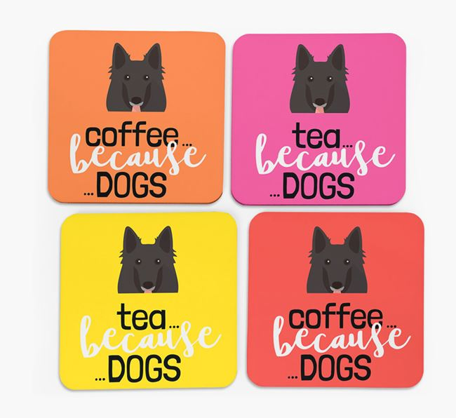 'Coffee/Tea Because...Dogs' Coasters with Belgian Groenendael icon - Set of 4