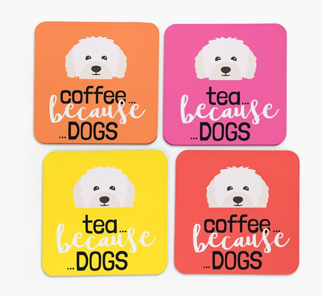 'Coffee/Tea Because...Dogs' Coasters with Bolognese icon - Set of 4
