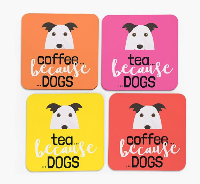 'Coffee/Tea Because...Dogs' Coasters with Border Collie icon - Set of 4