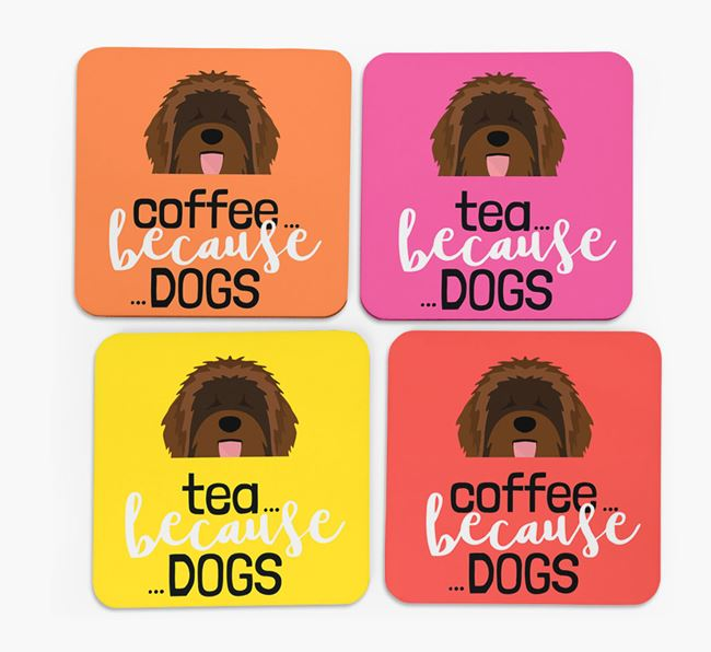'Coffee/Tea Because...Dogs' Coasters with Catalan Sheepdog icon - Set of 4