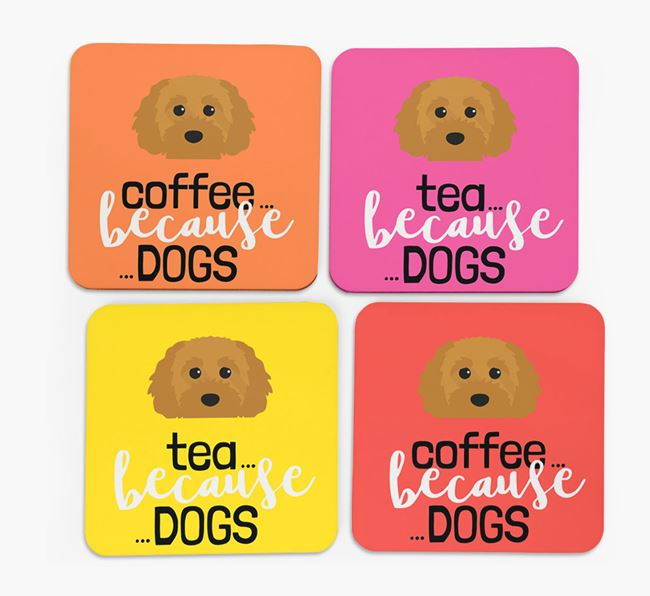 'Coffee/Tea Because...Dogs' Coasters with Cavapoochon icon - Set of 4