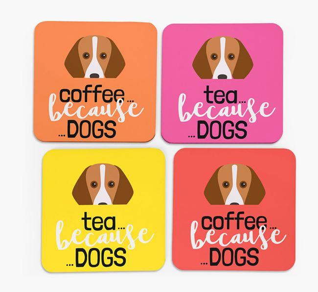 'Coffee/Tea Because...Dogs' Coasters with Foxhound icon - Set of 4