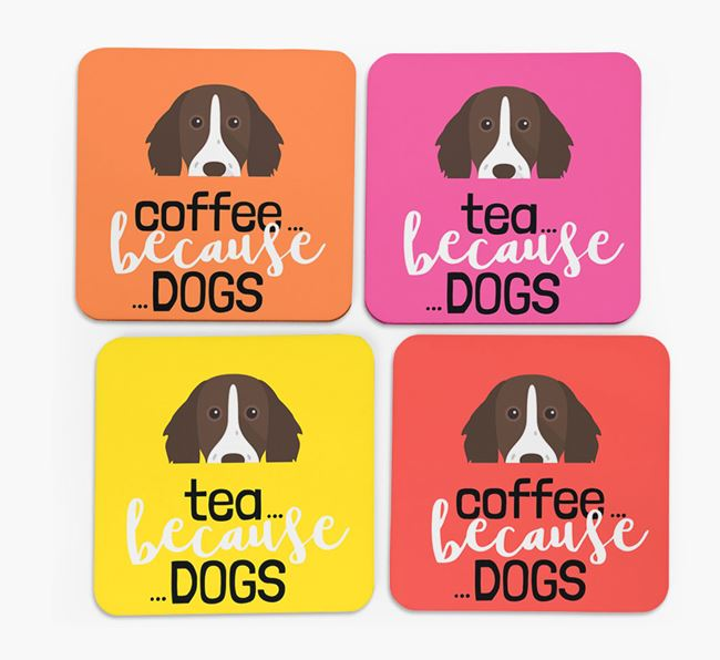 'Coffee/Tea Because...Dogs' Coasters with German Longhaired Pointer icon - Set of 4