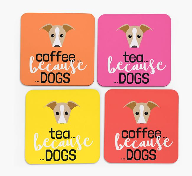 'Coffee/Tea Because...Dogs' Coasters with Dog icon - Set of 4