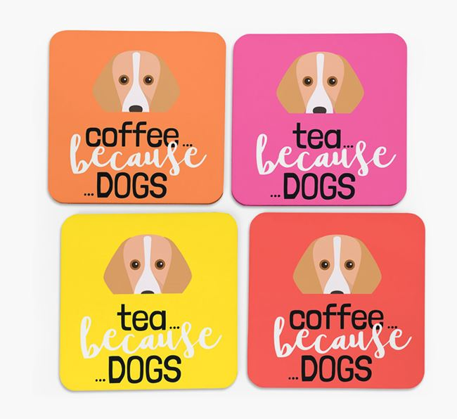 'Coffee/Tea Because...Dogs' Coasters with Harrier icon - Set of 4