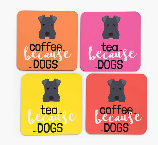 'Coffee/Tea Because...Dogs' Coasters with Kerry Blue Terrier icon - Set of 4