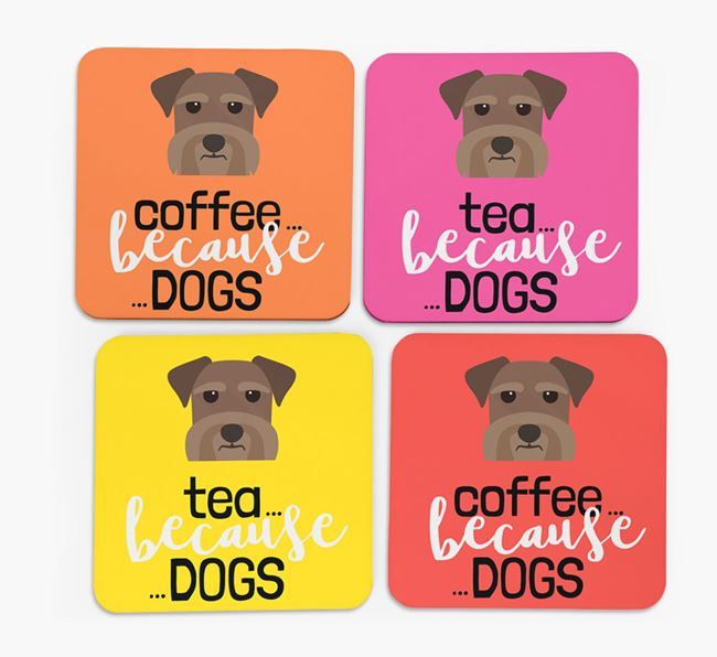 'Coffee/Tea Because...Dogs' Coasters with Miniature Schnauzer icon - Set of 4