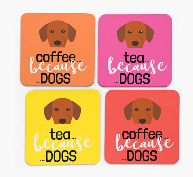 'Coffee/Tea Because...Dogs' Coasters with Springador icon - Set of 4