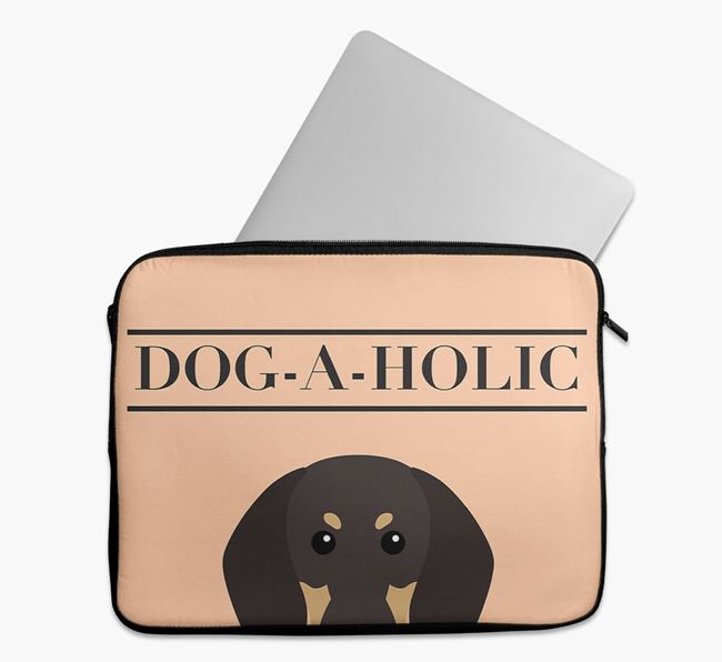 'Dog-A-Holic' Tech Pouch with Black and Tan Coonhound Yappicon