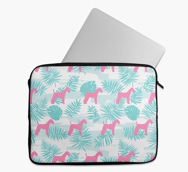 Tech Pouch with Tropical Leaves and Airedale Terrier Silhouettes