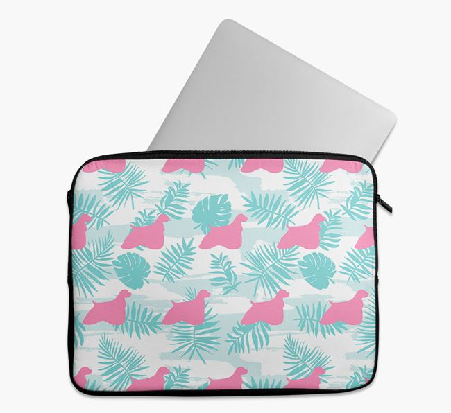 Tech Pouch with Tropical Leaves and American Cocker Spaniel Silhouettes