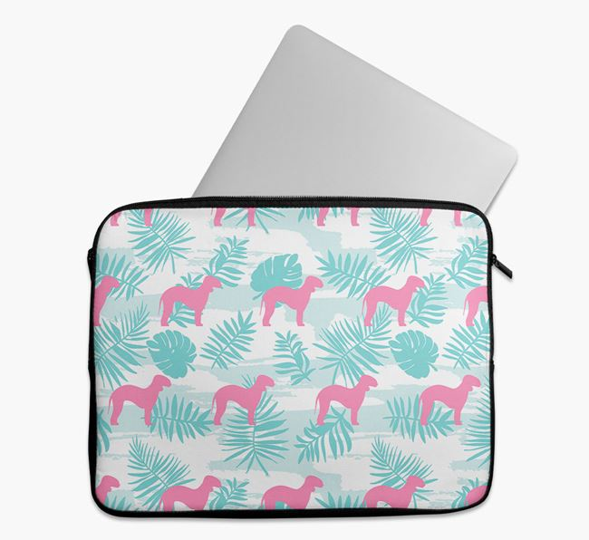 Tech Pouch with Tropical Leaves and Bedlington Terrier Silhouettes