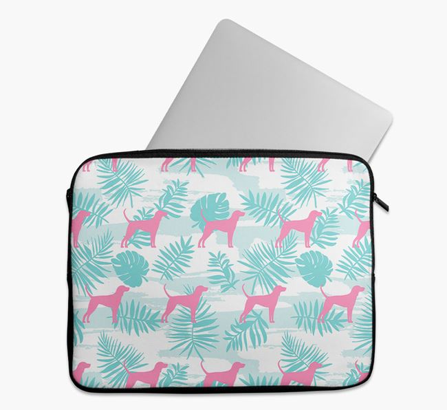 Tech Pouch with Tropical Leaves and Black and Tan Coonhound Silhouettes