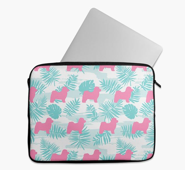 Tech Pouch with Tropical Leaves and Bolognese Silhouettes