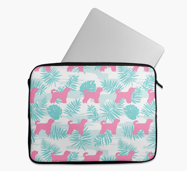 Tech Pouch with Tropical Leaves and Cavapoochon Silhouettes