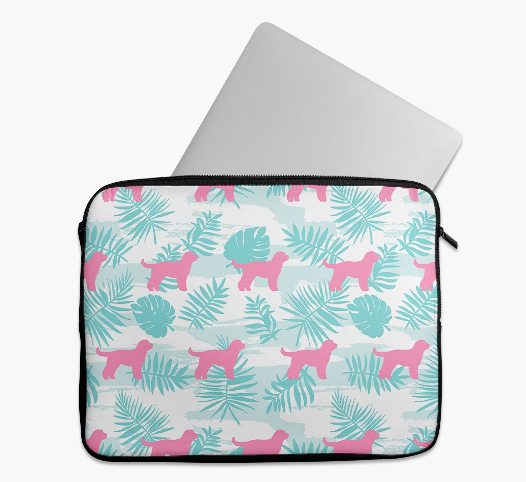 Tropical Leaves Tech Pouch with Cockapoo Silhouettes