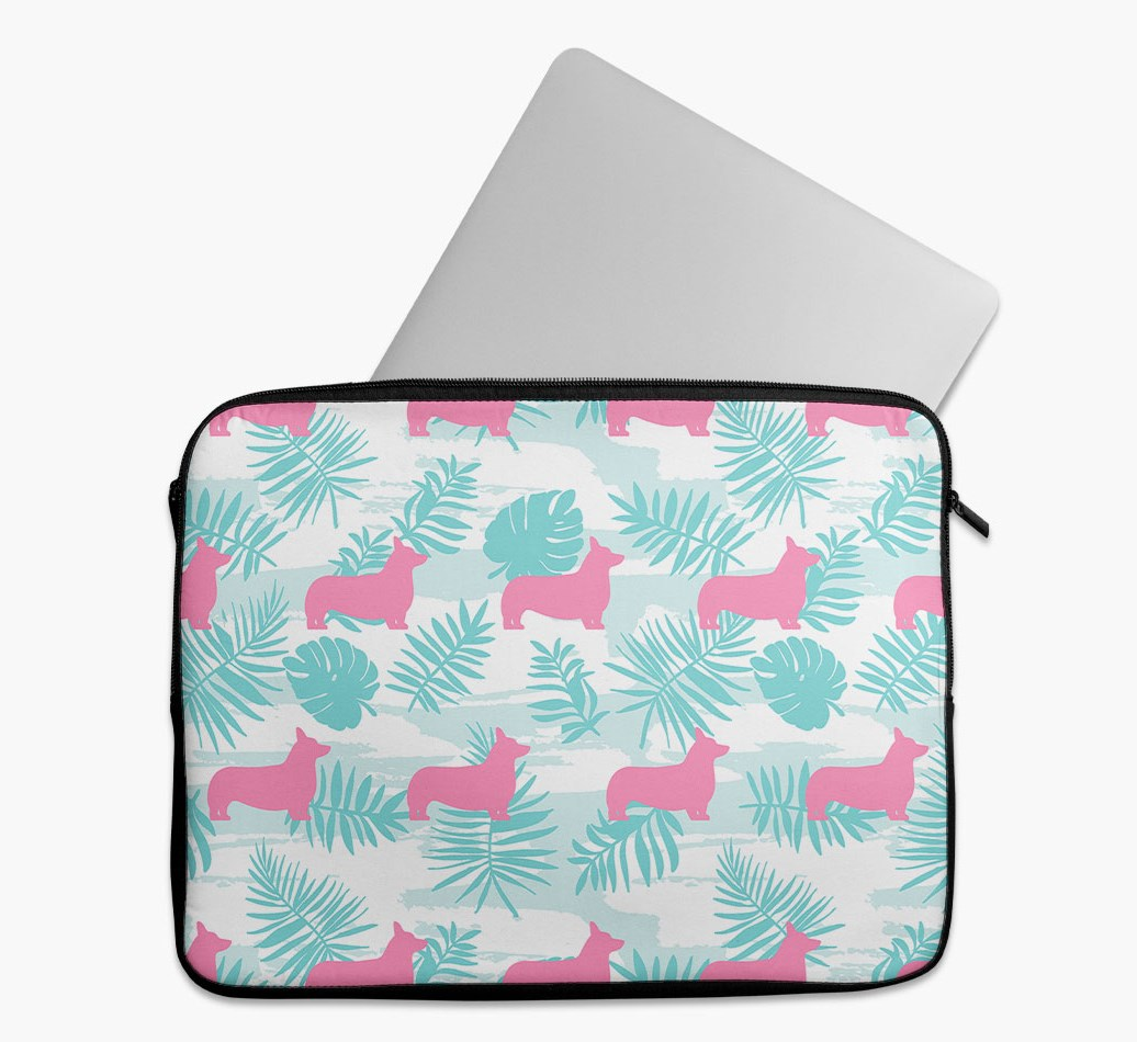 Tropical Leaves Tech Pouch with Corgi Silhouettes