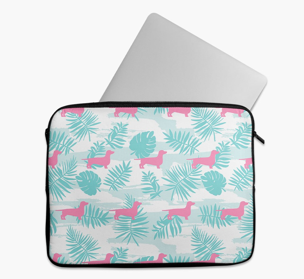 Tropical Leaves Tech Pouch with Dachshund Silhouettes