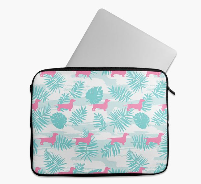 Tech Pouch with Tropical Leaves and Dachshund Silhouettes