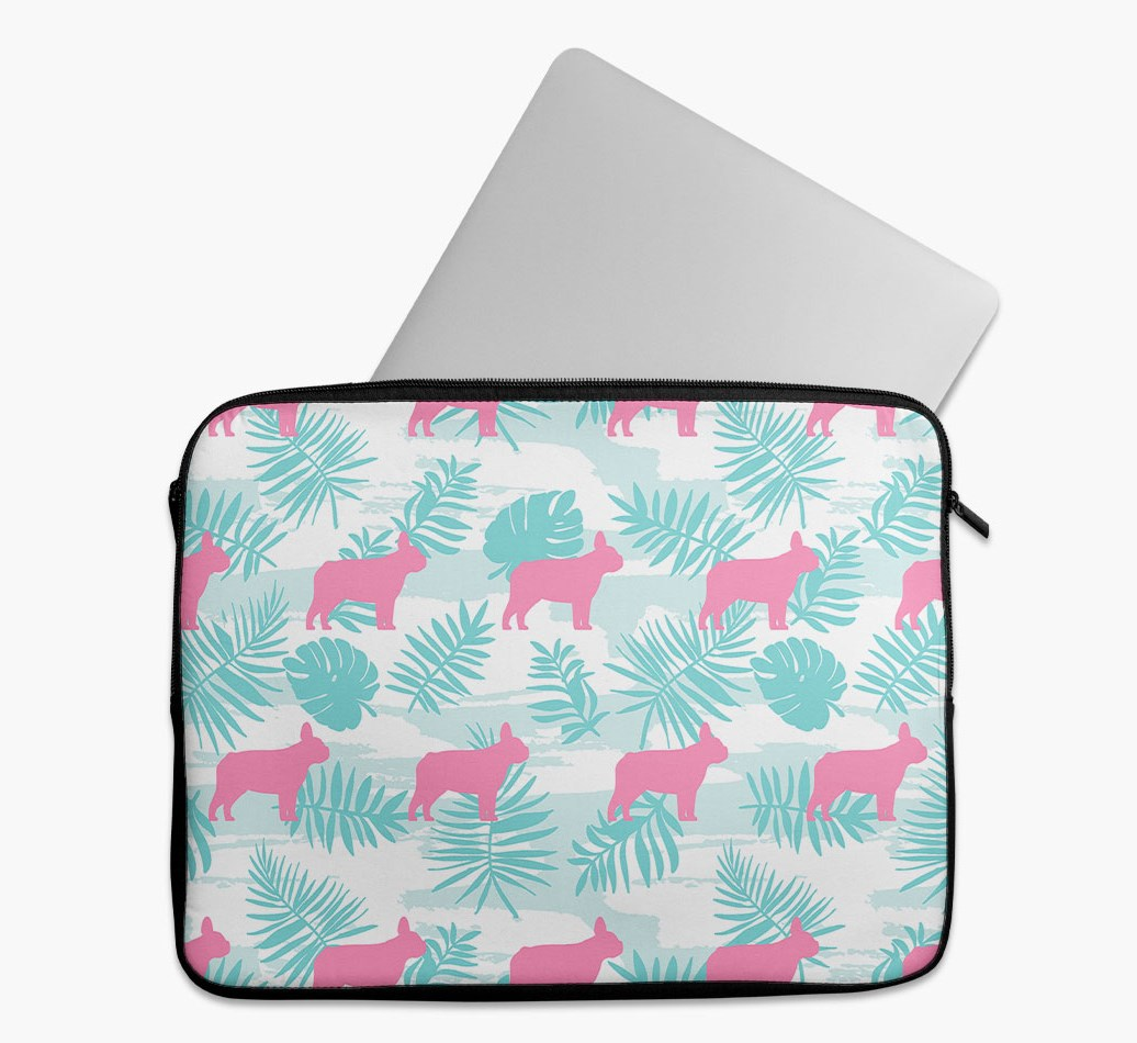 Tropical Leaves Tech Pouch with French Bulldog Silhouettes