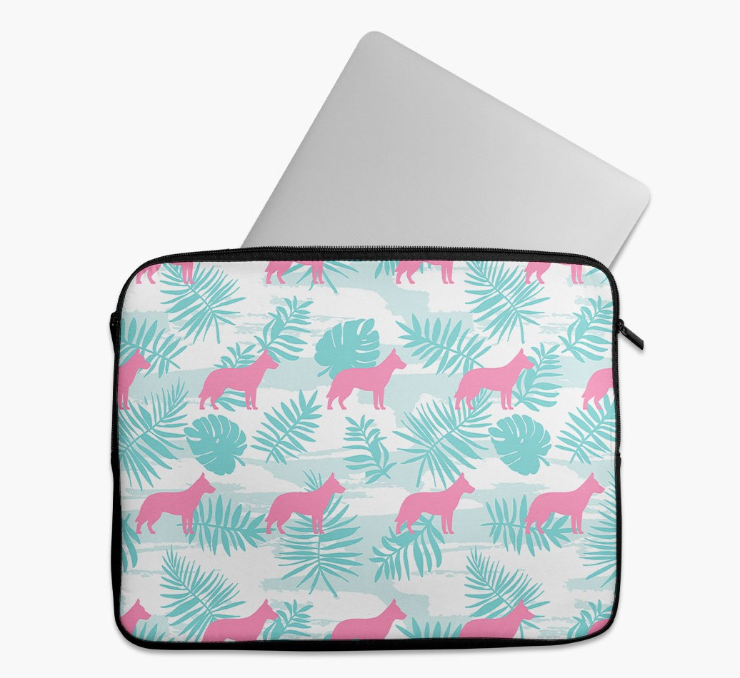 Tropical Leaves Tech Pouch with German Shepherd Silhouettes