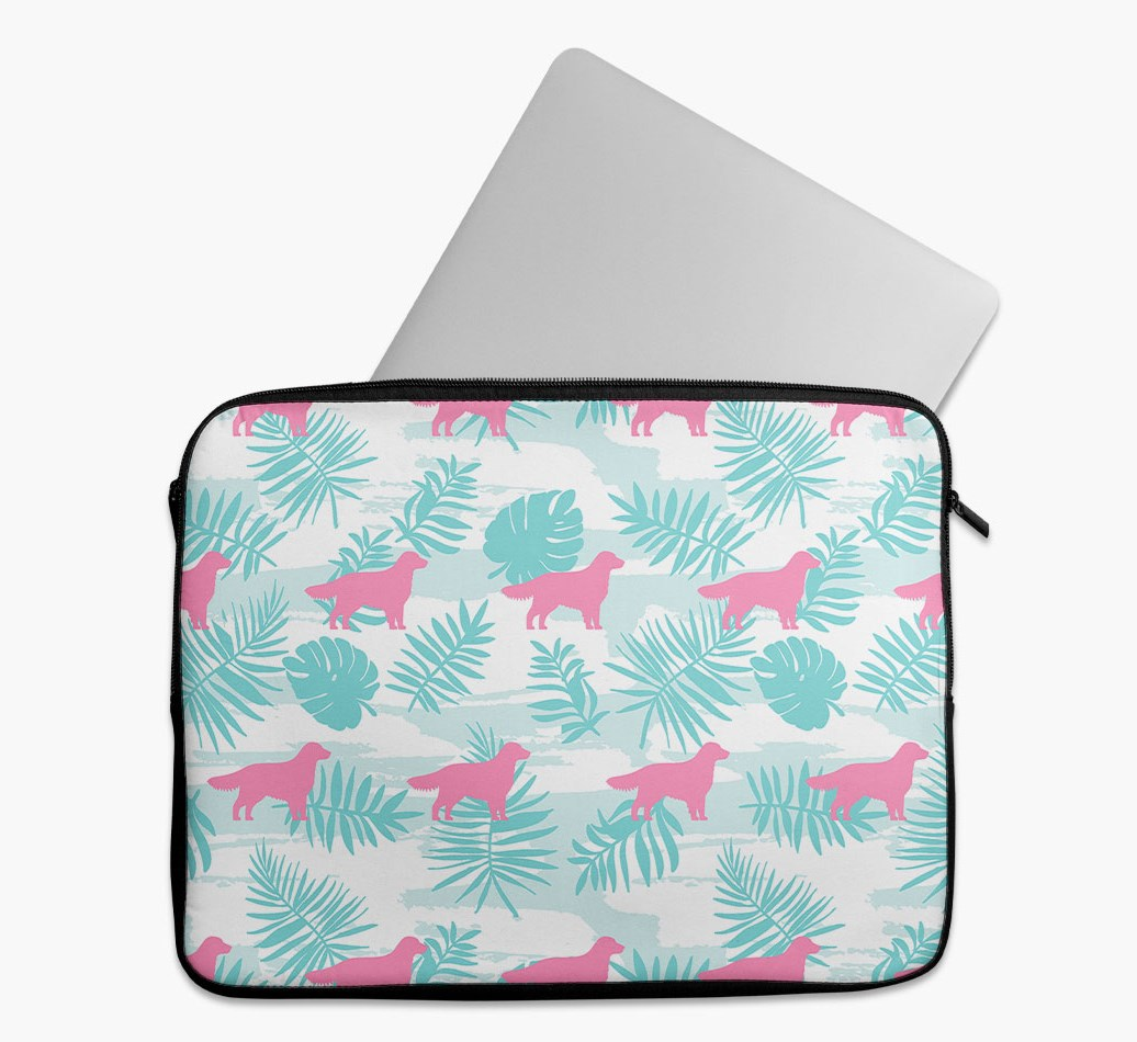 Tropical Leaves Tech Pouch with Golden Retriever Silhouettes